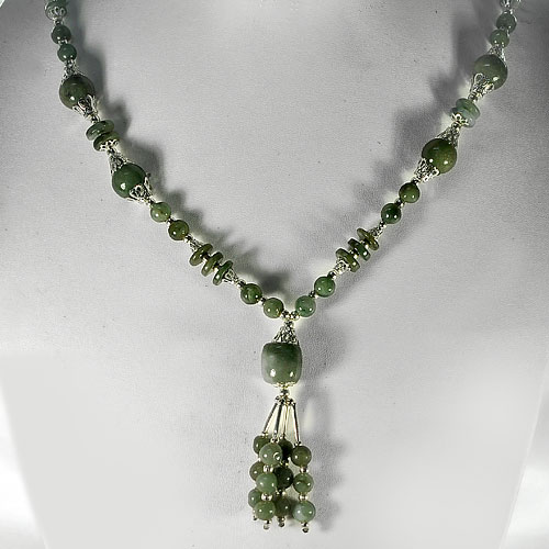 425.00 Ct. Mix Shape Natural Green Jade Beads Nickel Necklace Length 17 Inch.