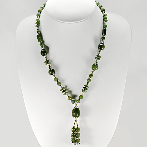 435.02 Ct. Natural Green Jade Beads Nickel Necklace Length 17 Inch.