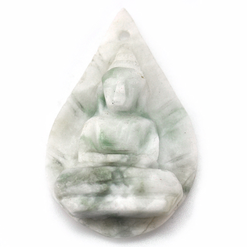 33.63 Ct. Delightful Natural White Green Jade Buddha Carving Pendant 35 x 22 Mm