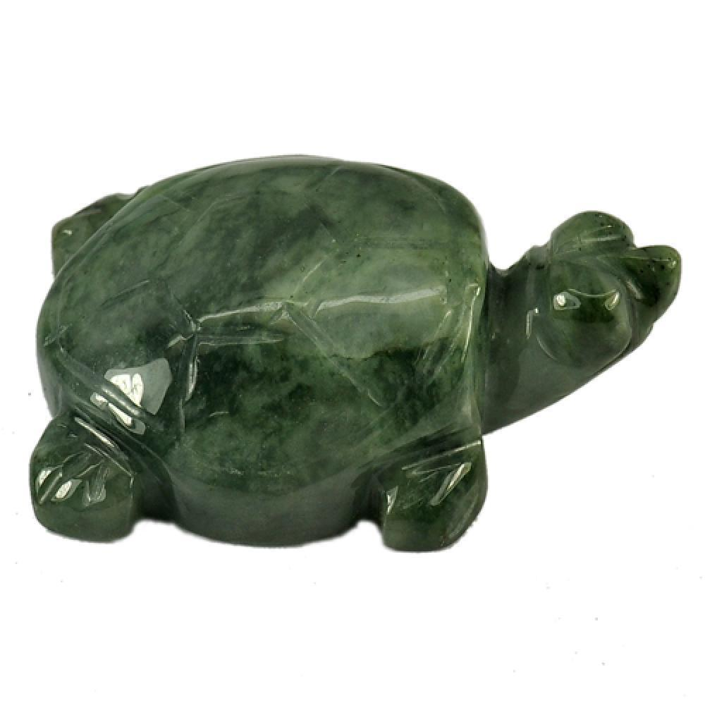 179.87 Ct. Attractive Natural Green Jade Turtle Carving Unheated From Thailand