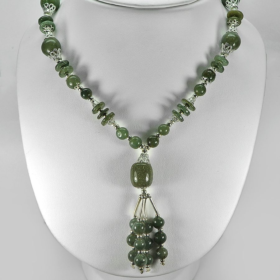 454.48 Ct. Delightful Natural Green Jade Bead Nickel Necklace Length 16 Inch.