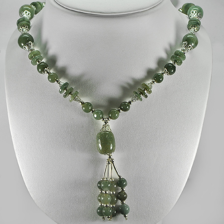 440.97 Ct. Nice Natural Green Jade Bead Nickel Necklace Length 16 Inch.
