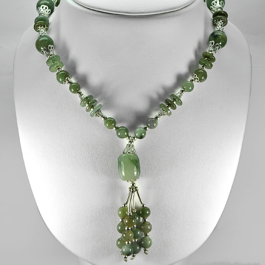 456.49 Ct. Nice Natural Green Jade Bead Nickel Necklace Length 16 Inch.
