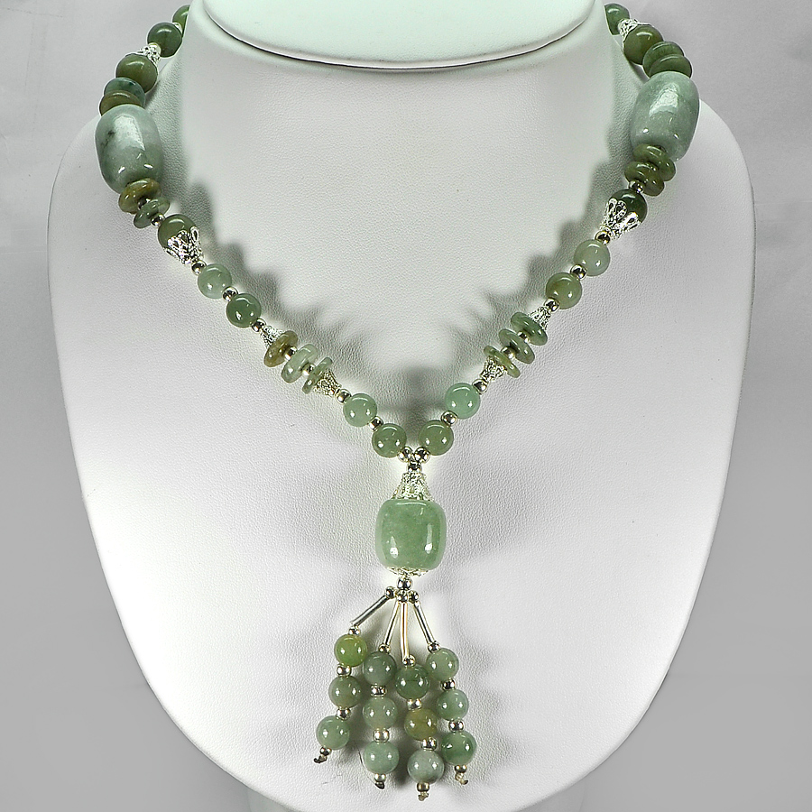 506.85 Ct. Good Natural Green Color Jade Bead Nickel Necklace Length 16 Inch.