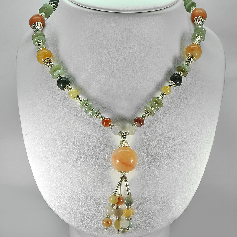 403.60 Ct. Natural Multi-Color Jade Bead Nickel Necklace Length 16 Inch.