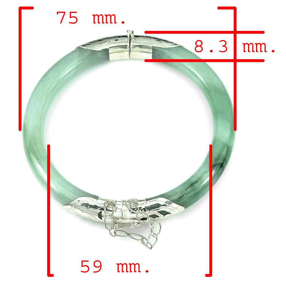 195.11 Ct. 75 x 59 x 8.3 Mm. Natural Gem Green Jade Bangle 925 Sterling Silver