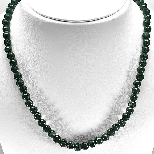 349.35 Ct. Nice Round Cabochon Natural Green Jade Bead Necklace Length 30 Inch.