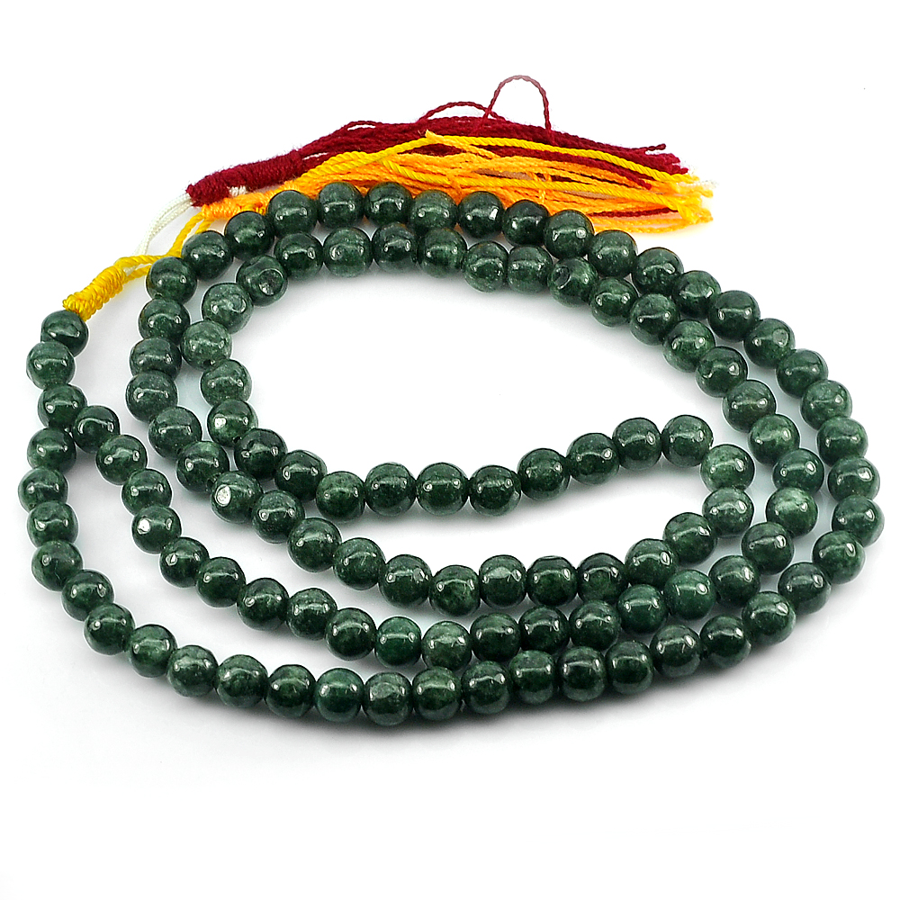 354.90 Ct. Round Cabochon Natural Gems Green Jade Bead Necklace Length 30 Inch.