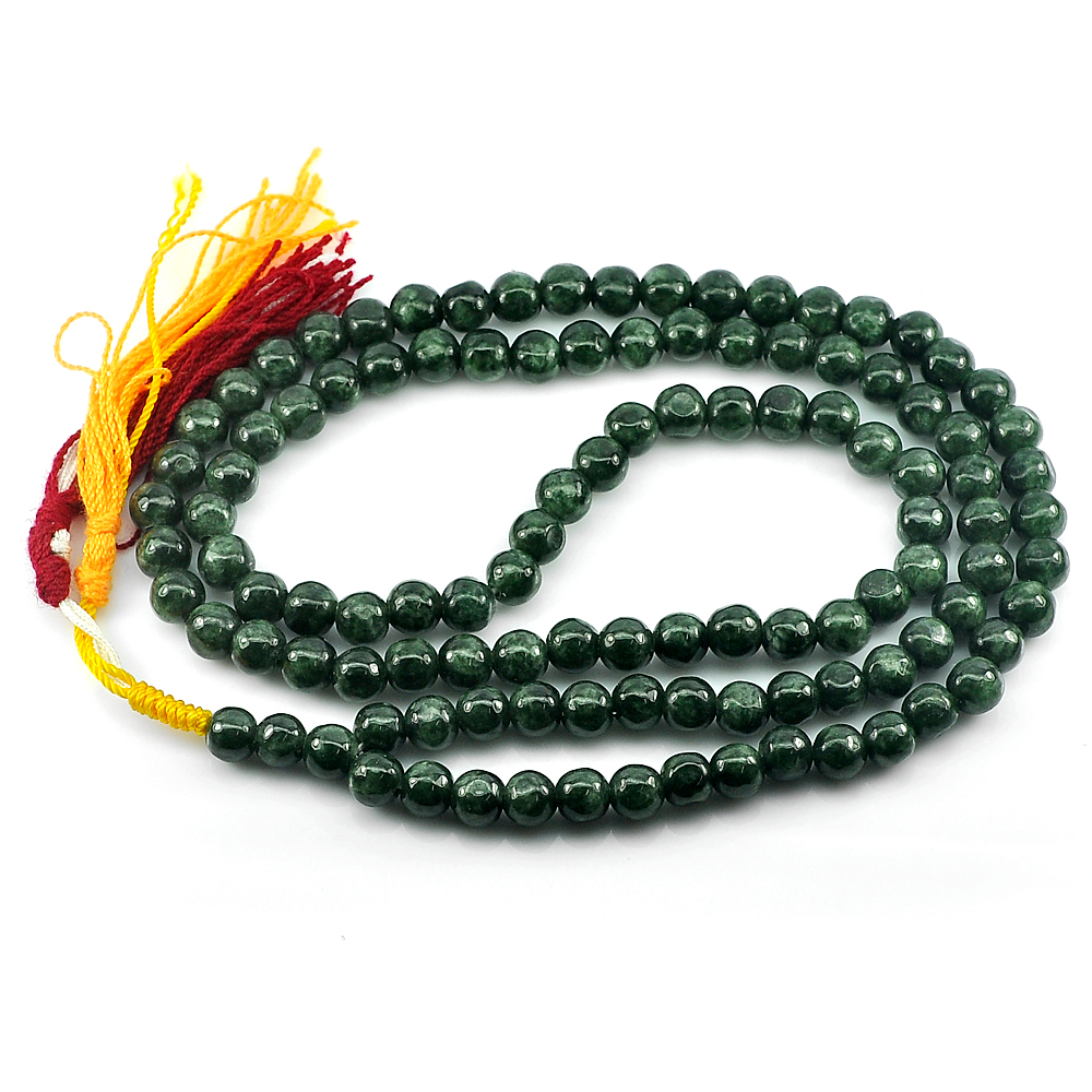345.69 Ct. Round Cabochon Natural Gems Green Jade Bead Necklace Length 30 Inch.