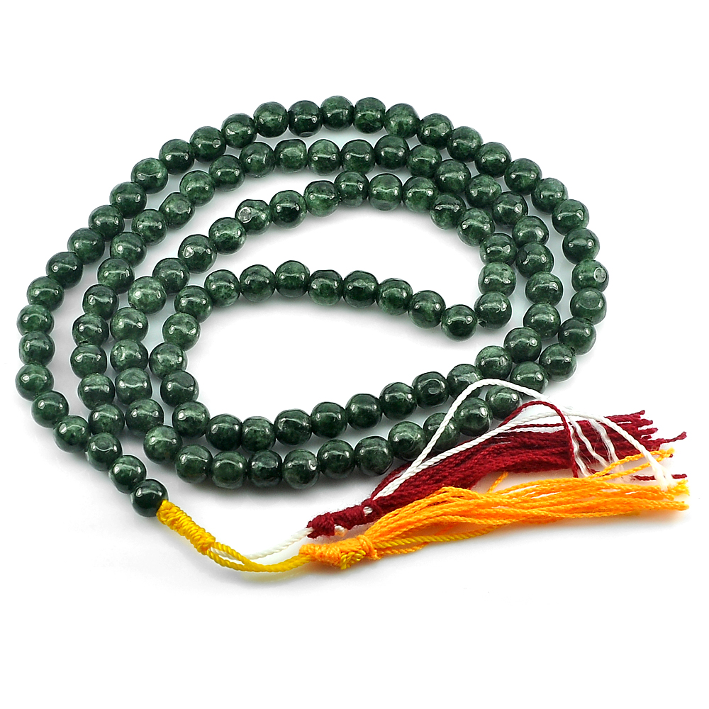 342.48 Ct. Round Cabochon Natural Gems Green Jade Bead Necklace Length 30 Inch.