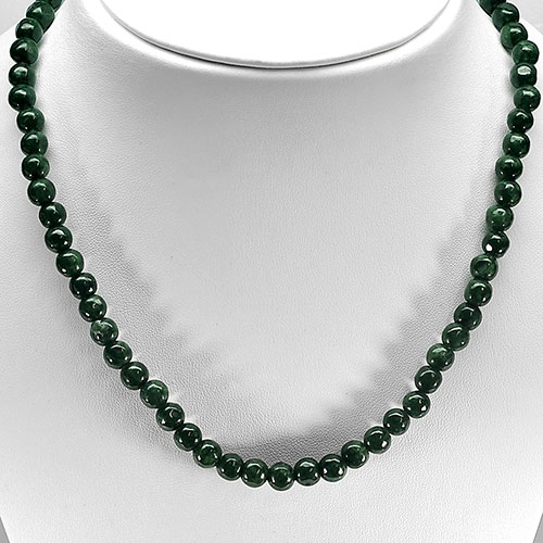 353.25  Ct. Round Cabochon Natural Green Jade Bead Necklace Length 30 Inch.