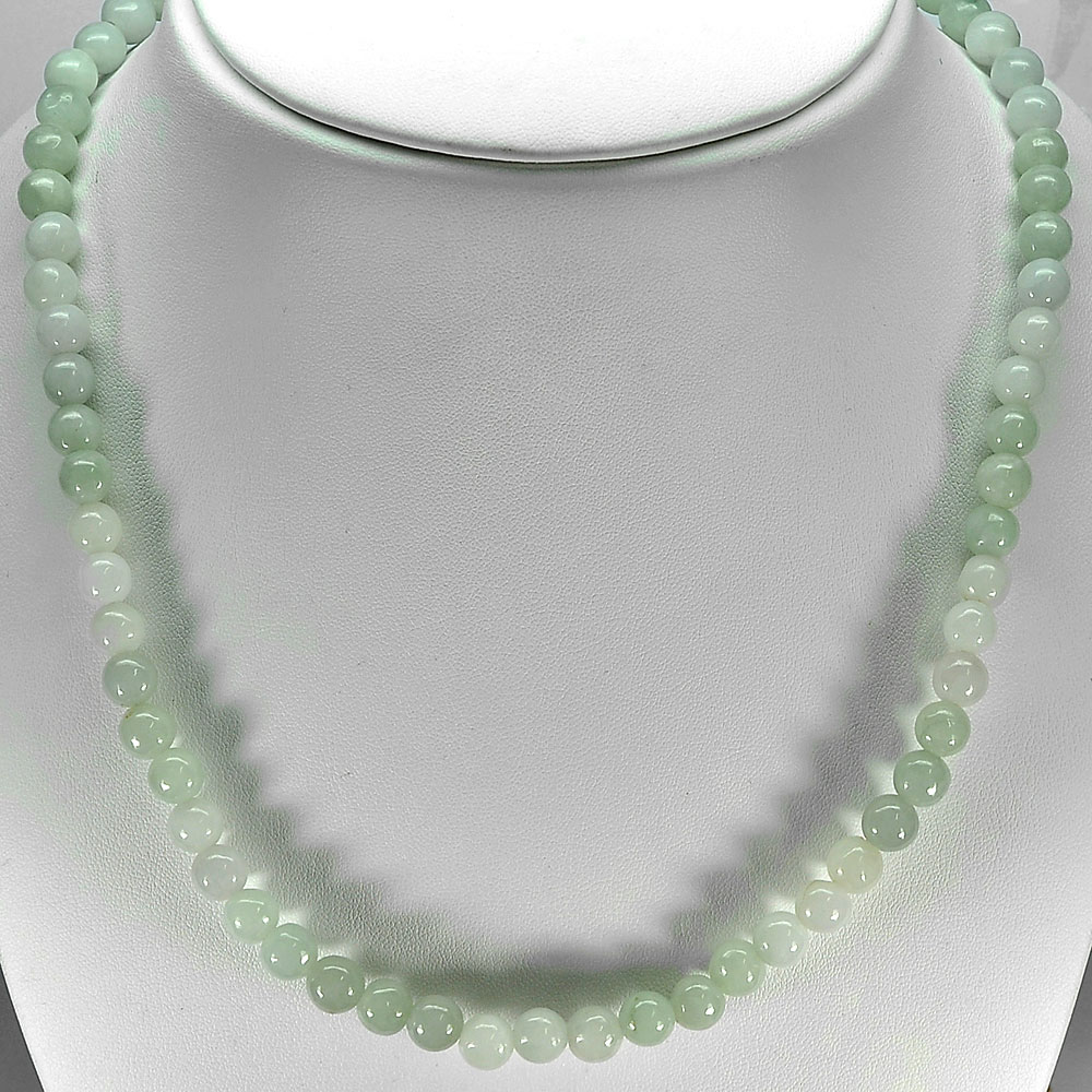 379.87 Ct. Attractive Natural White Green Jade Bead Necklace Length 32 Inch.