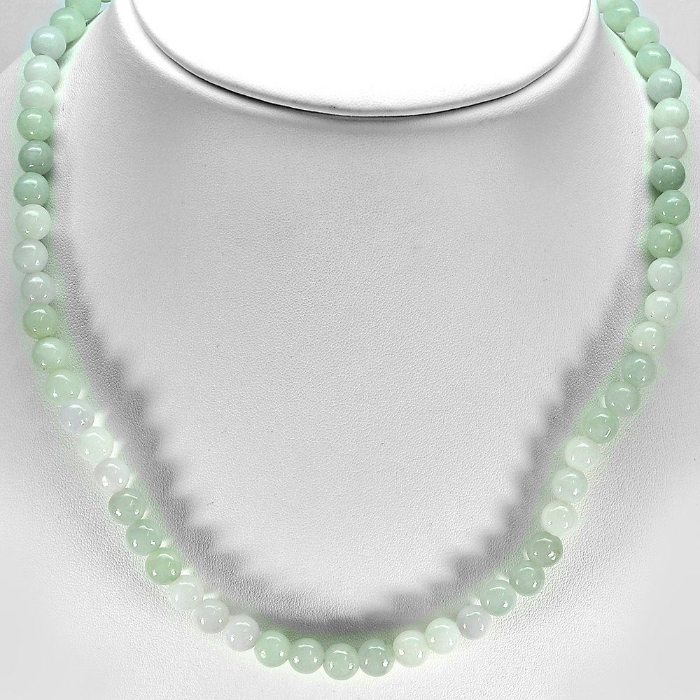 385.69 Ct. Beautiful Natural White Green Jade Bead Necklace Length 32 Inch.