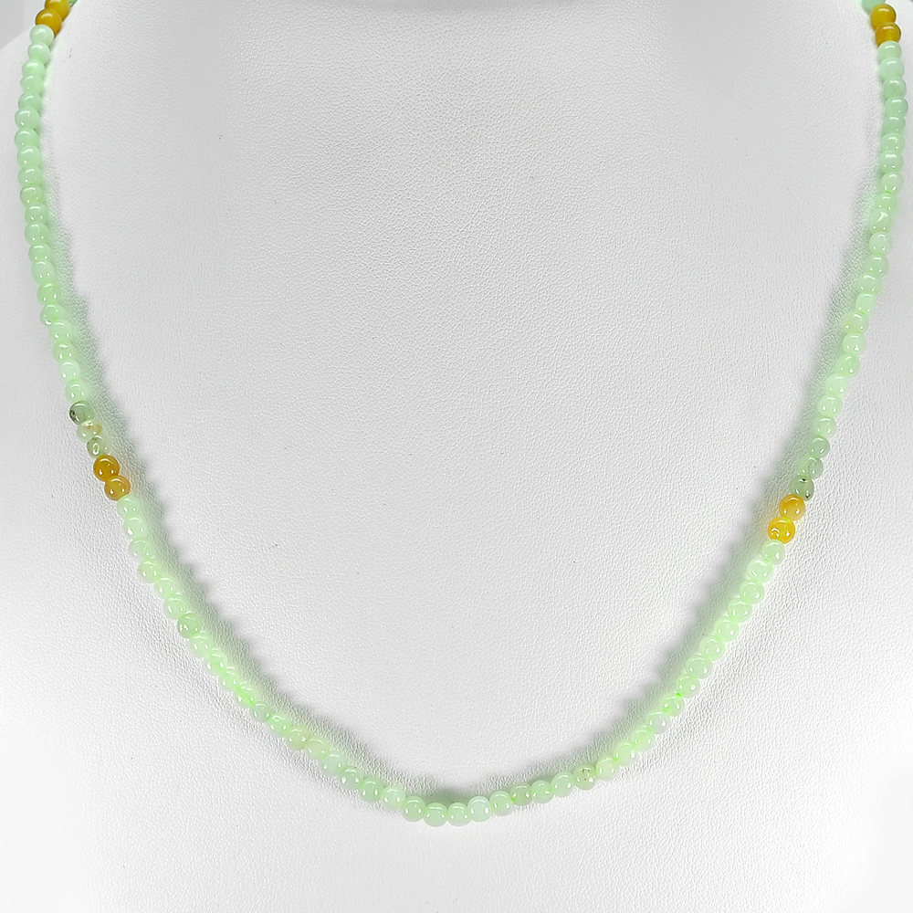66.40 Ct. Wonderful Natural Honey Green Jade Bead Necklace Length 20 Inch.