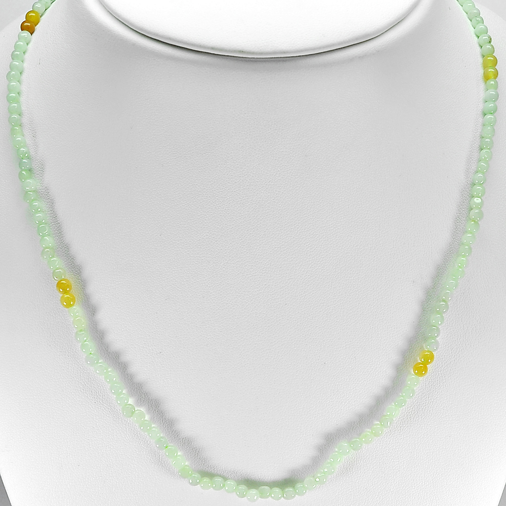 66.67 Ct. Round Cabochon Natural Honey Green Jade Bead Necklace Length 19 Inch.