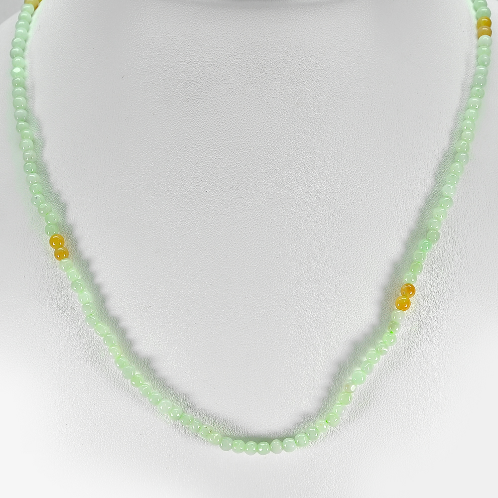 66.37 Ct. Good Round Cab Natural Honey Green Jade Bead Necklace Length 20 Inch.