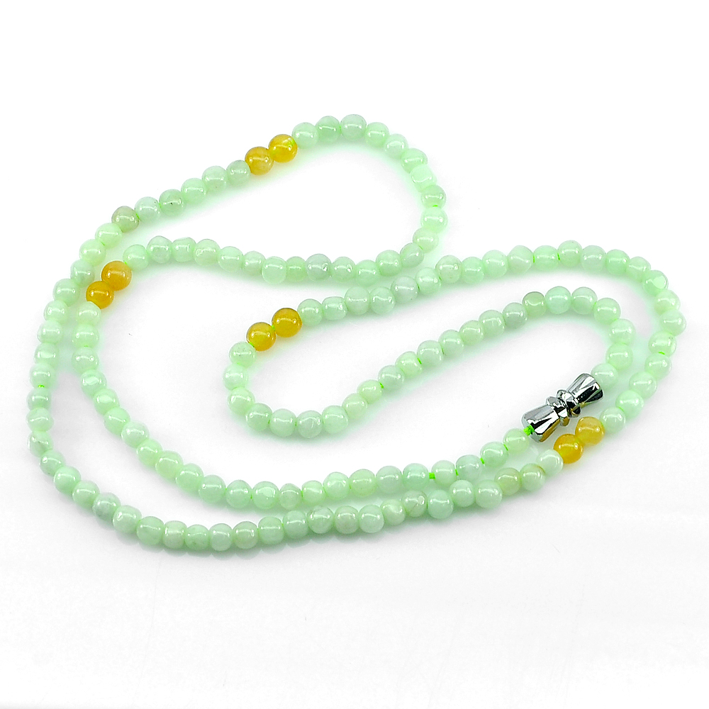 66.50 Ct. Round Cabochon Natural Honey Green Jade Bead Necklace Length 20 Inch.