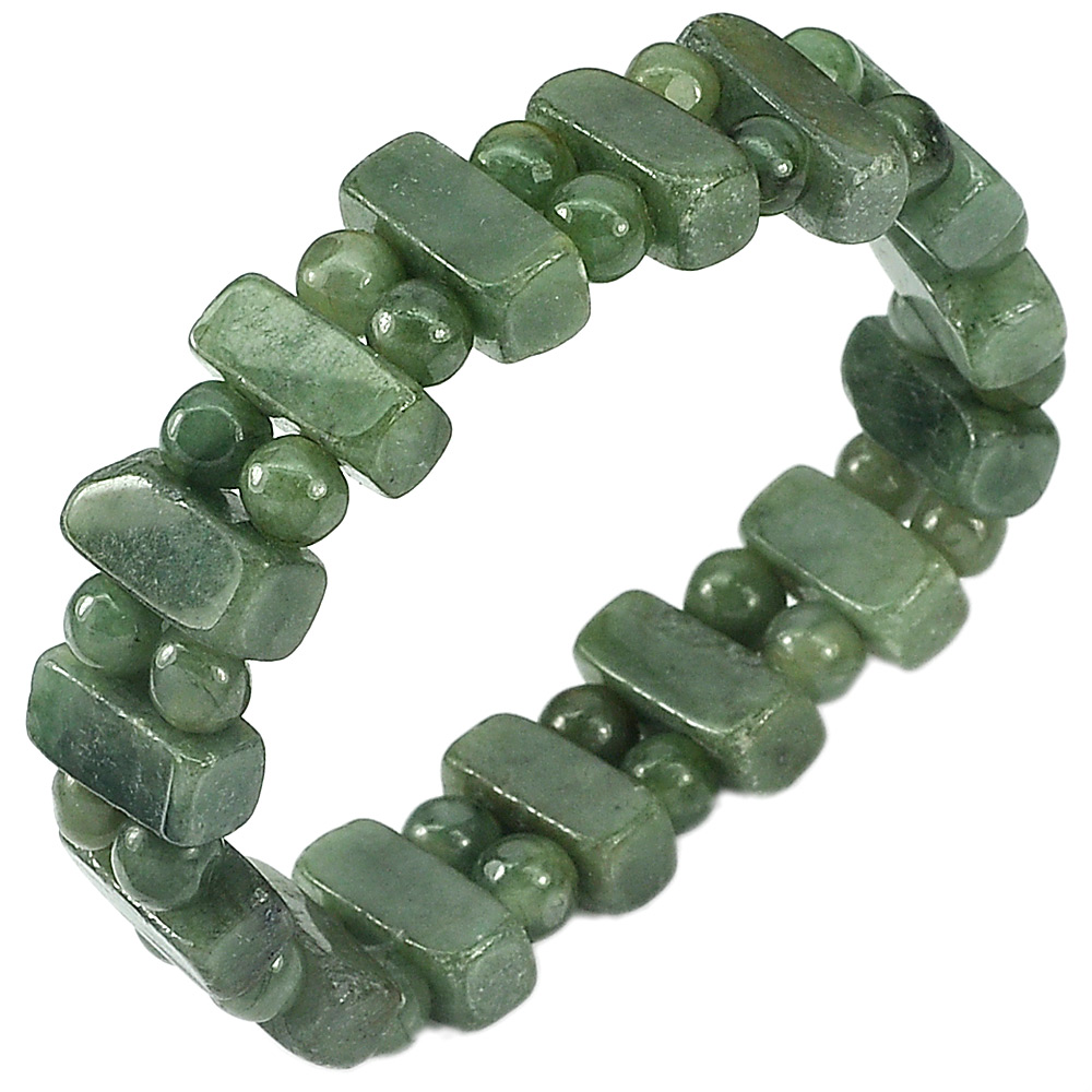 171.50 Ct. Natural Gemstone Green Jade Beads Flexibility Bracelet Length 7 Inch.