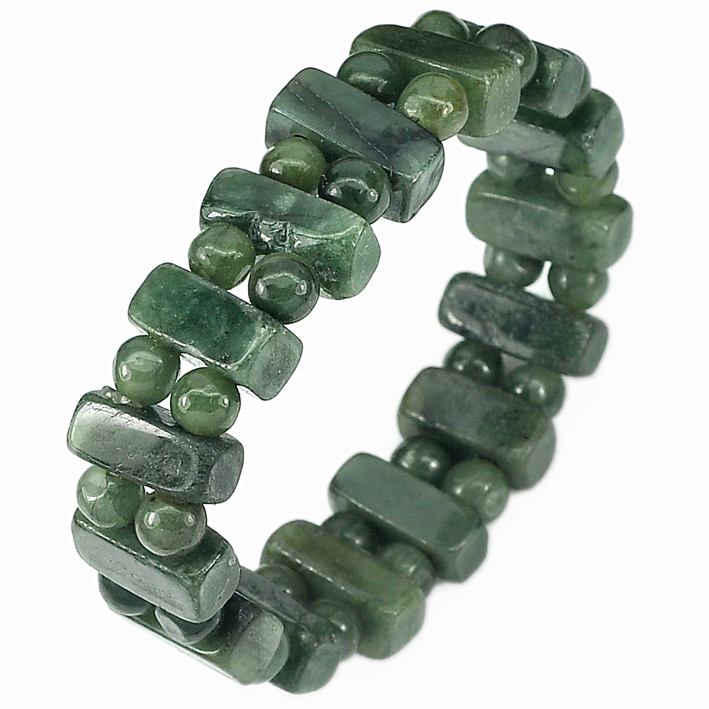 173.43 Ct. Natural Gemstone Green Jade Beads Flexibility Bracelet Length 7 Inch.