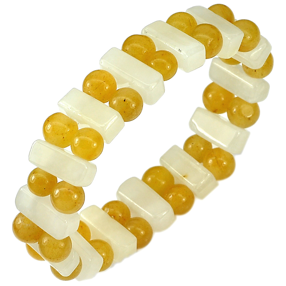 161.59 Ct. Natural Multi-Color Honey Jade Beads Flexibility Bracelet 7 Inch.