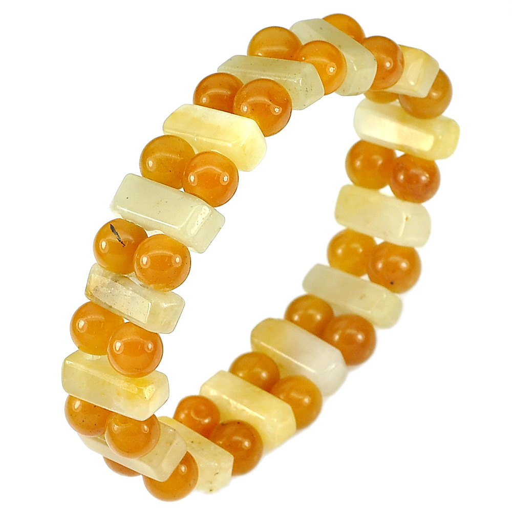 163.79 Ct. Natural Multi-Color Honey Jade Flexibility Bracelet Length 7 Inch.
