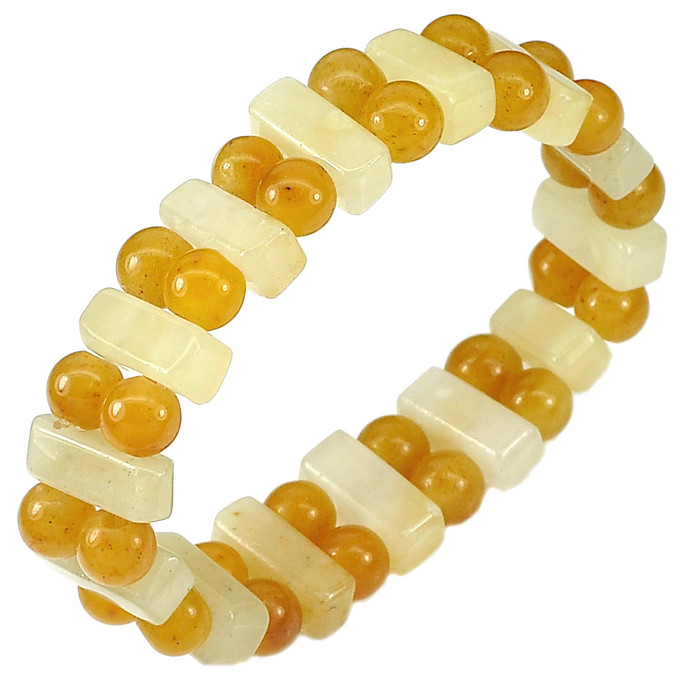 159.70 Ct. Natural Gems Honey Jade Beads Flexibility Bracelet Length 7 Inch.