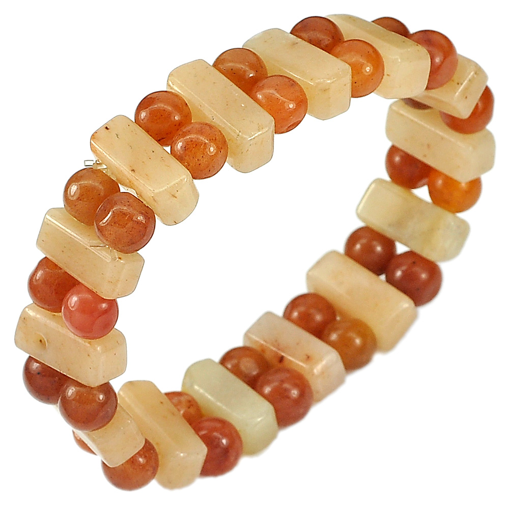 163.14 Ct.Natural Gem Multi-Color Jade Beads Flexibility Bracelet Length 7 Inch.