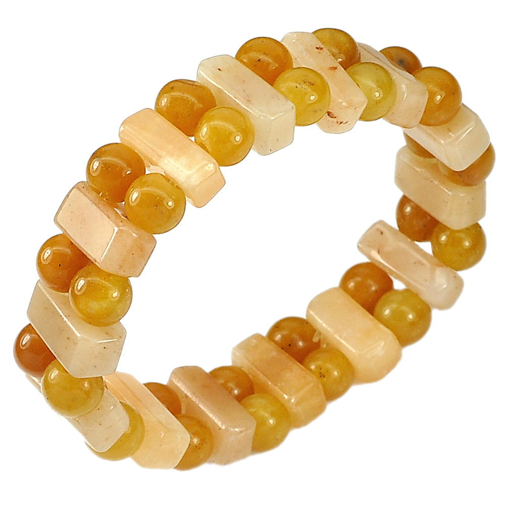 166.46 Ct.Natural Gem Multi-Color Jade Beads Flexibility Bracelet Length 7 Inch.