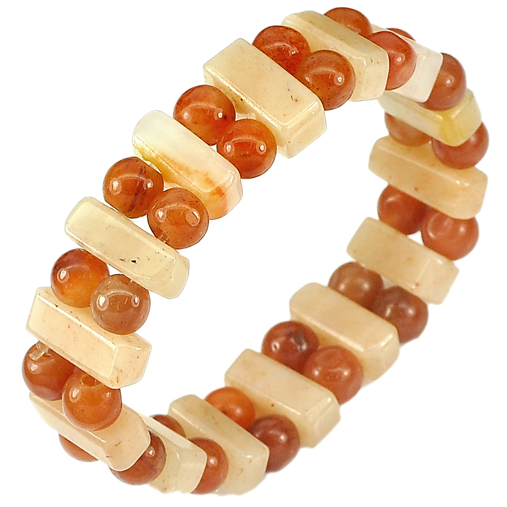 153.05 Ct.Natural Gem Multi-Color Jade Beads Flexibility Bracelet Length 7 Inch.
