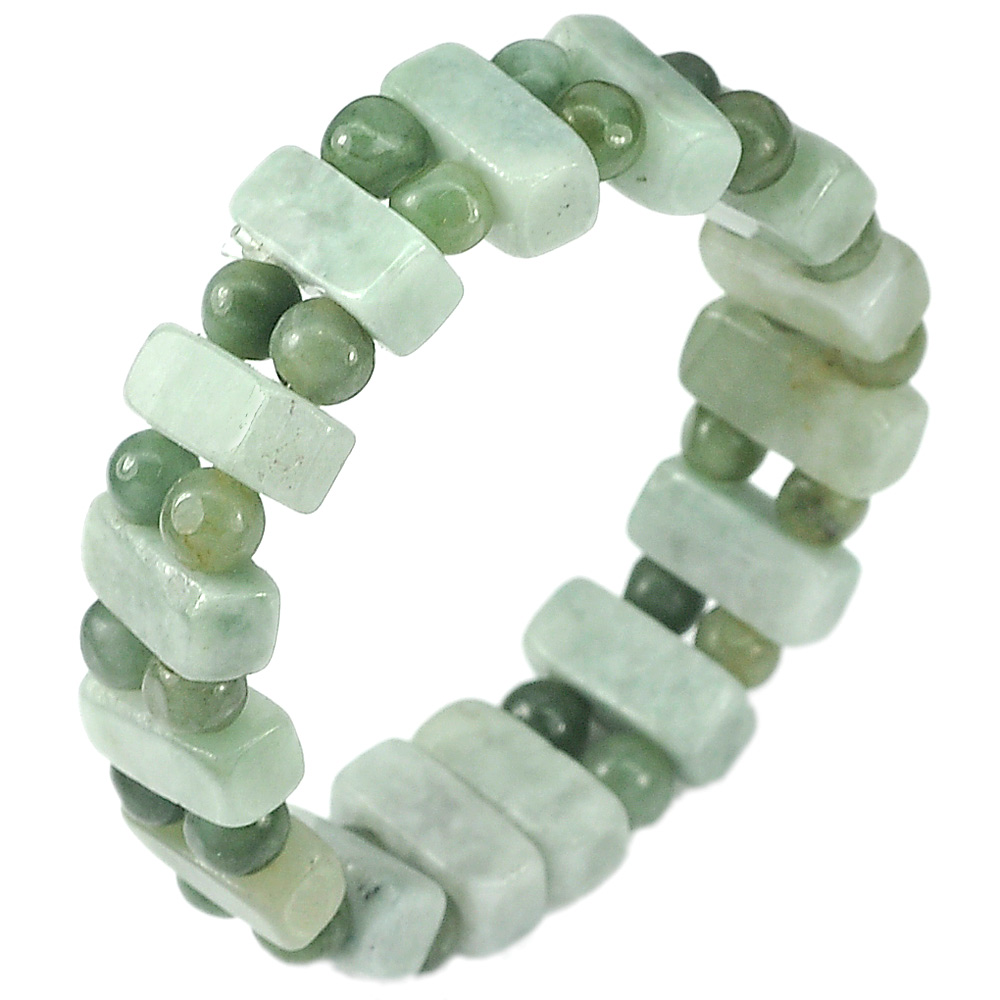 166.09 Ct.Natural Gemstones Green Jade Beads Flexibility Bracelet Length 7 Inch.