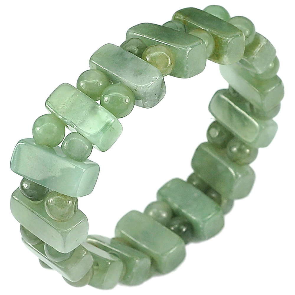 162.69 Ct. Natural Gemstone Green Jade Beads Flexibility Bracelet Length 7 Inch.