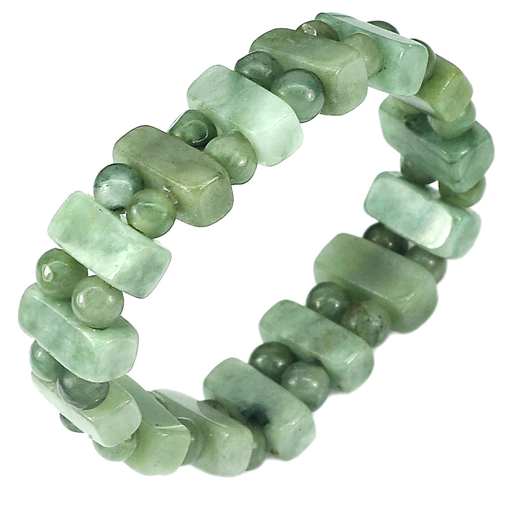 173.64 Ct. Natural Green Color Jade Beads Flexibility Bracelet Length 7 Inch.