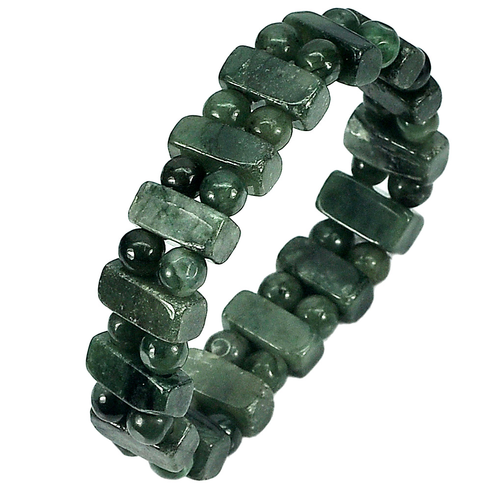 185.02 Ct. Natural Gemstone Green Jade Beads Flexibility Bracelet Length 7 Inch.