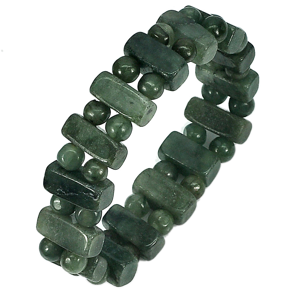 173.78 Ct. Natural Gemstones Green Color Jade Beads Bracelet Length 7 Inch.