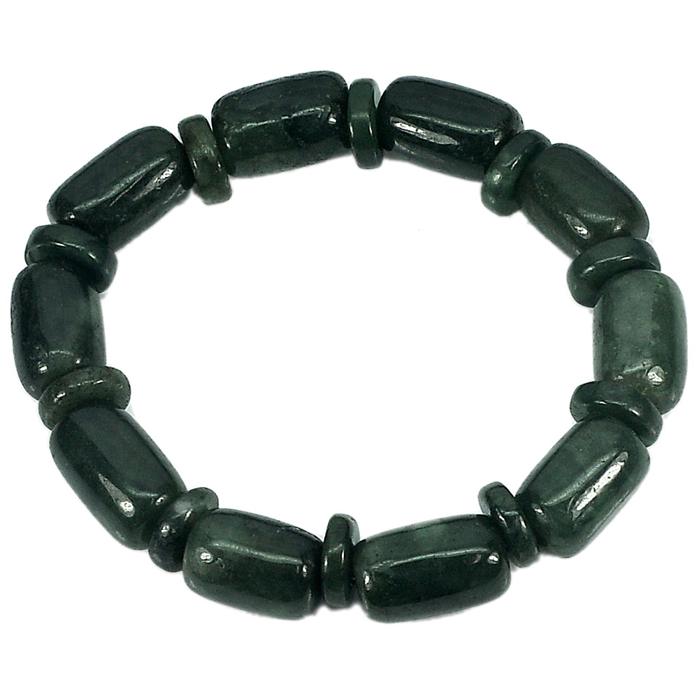 194.98 Ct. Natural Gemstone Green Jade Beads Flexibility Bracelet Length 8 Inch.