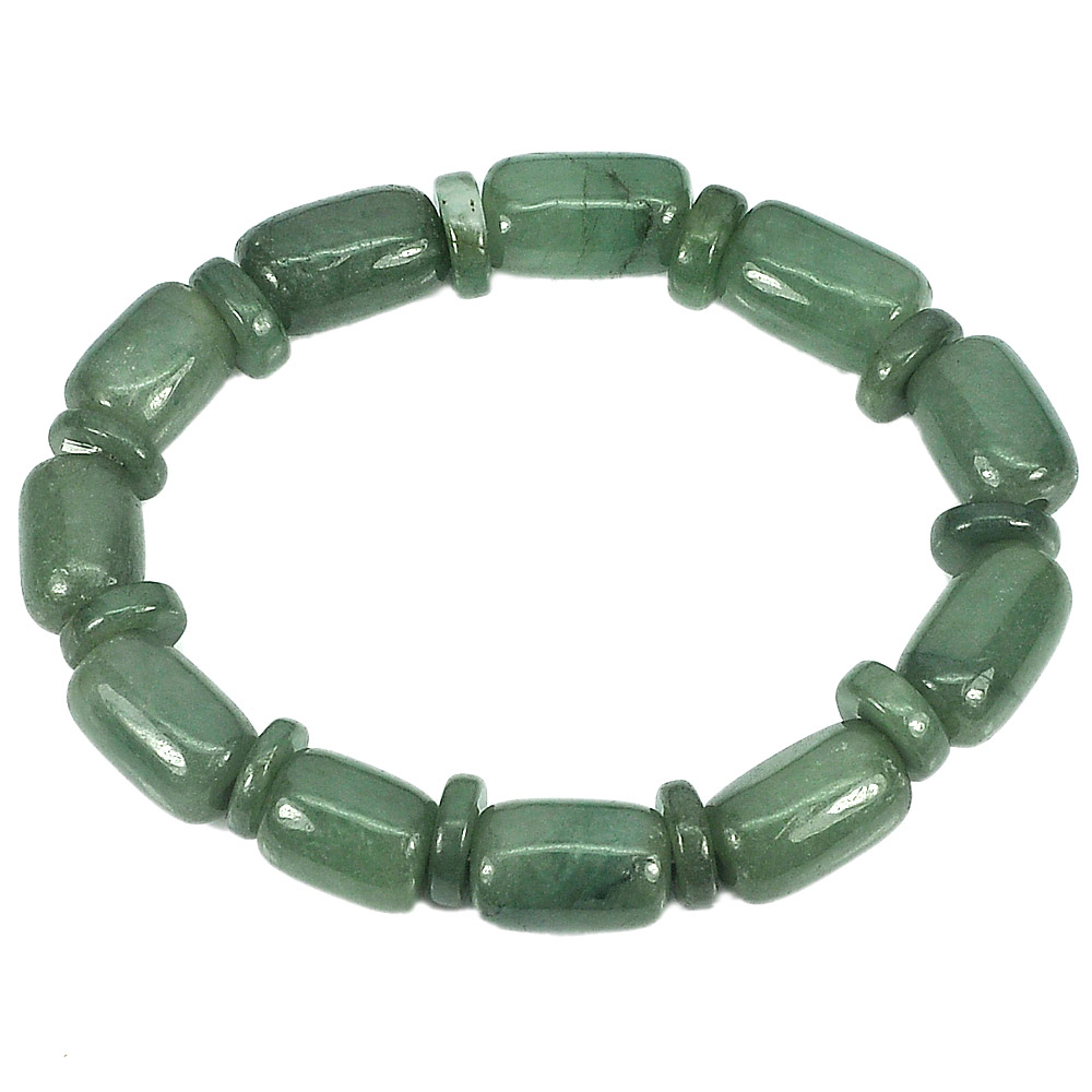 215.31 Ct. Natural Gemstone Green Jade Beads Flexibility Bracelet Length 8 Inch.