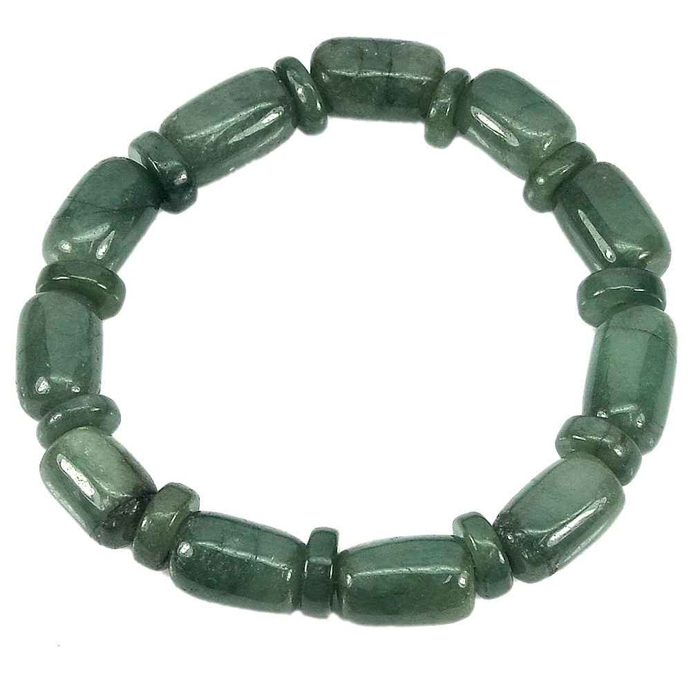216.72 Ct. Natural Gemstone Green Jade Beads Flexibility Bracelet Length 8 Inch.
