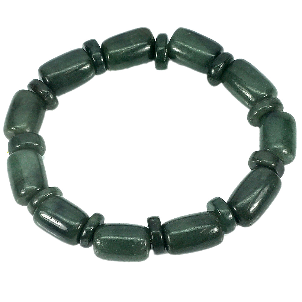 211.53 Ct. Natural Gemstone Green Jade Beads Flexibility Bracelet Length 8 Inch.