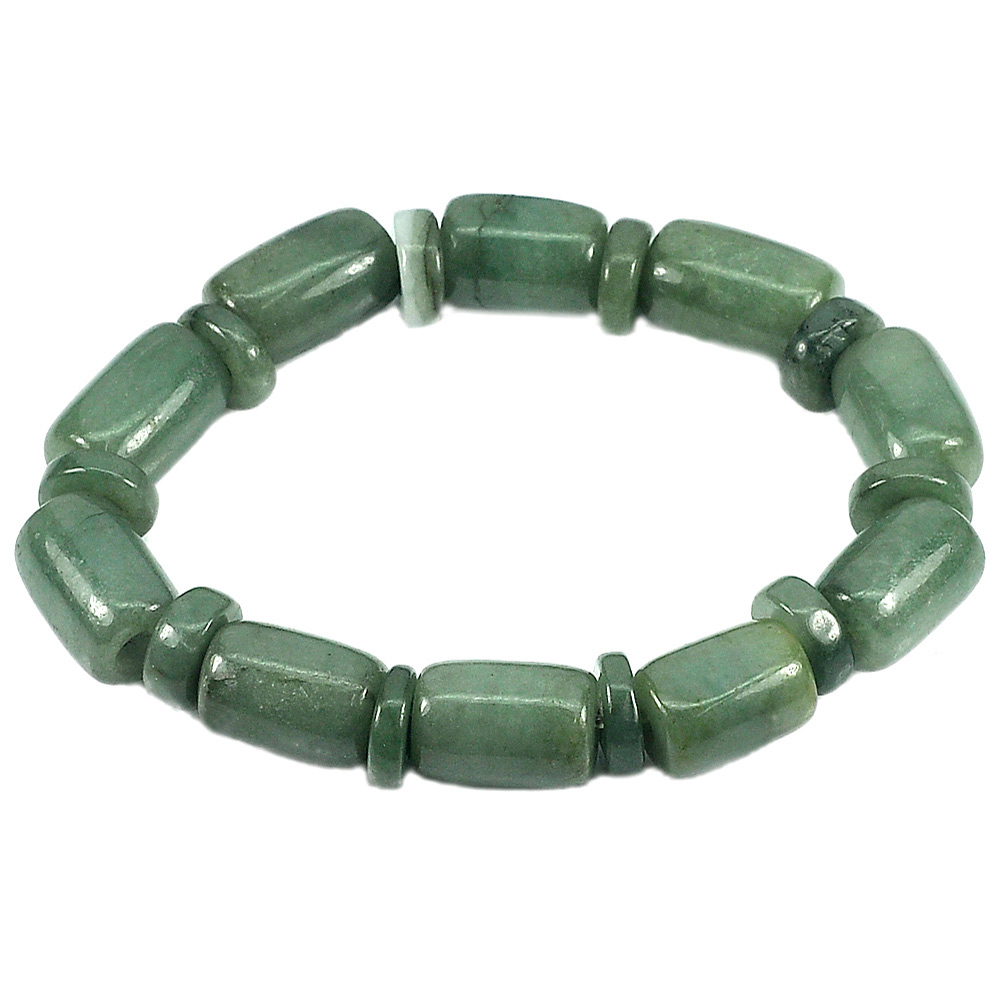 201.16 Ct.Natural Gemstones Green Jade Beads Flexibility Bracelet Length 8 Inch.