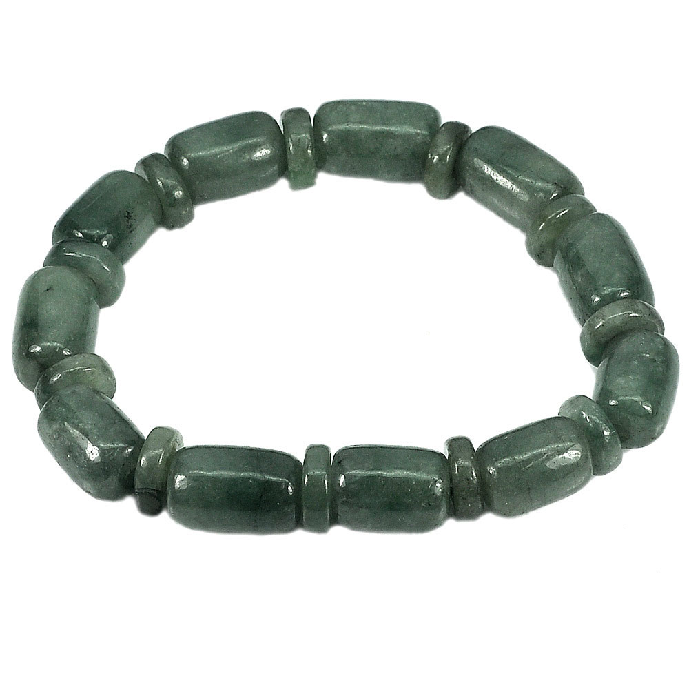 224.82 Ct. Natural Gemstone Green Jade Beads Flexibility Bracelet Length 8 Inch.