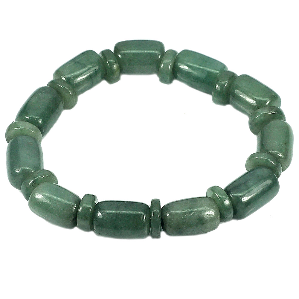 223.57 Ct. Natural Gemstone Green Jade Beads Flexibility Bracelet Length 8 Inch.
