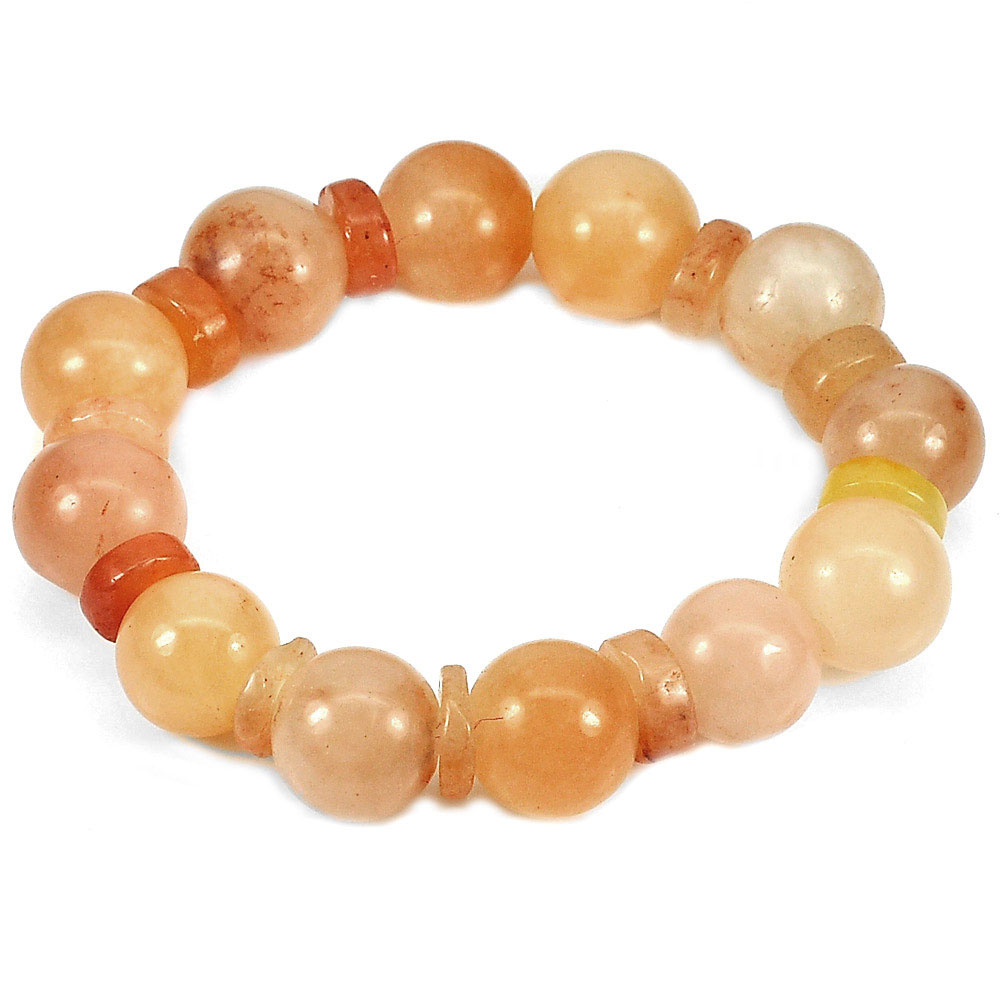 264.17 Ct. Natural Gems Honey Jade Beads Flexibility Bracelet Length 8 Inch.