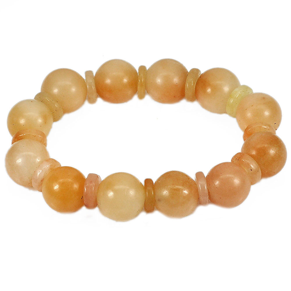 264.44 Ct.Natural Gemstone Honey Jade Beads Flexibility Bracelet Length 8 Inch.