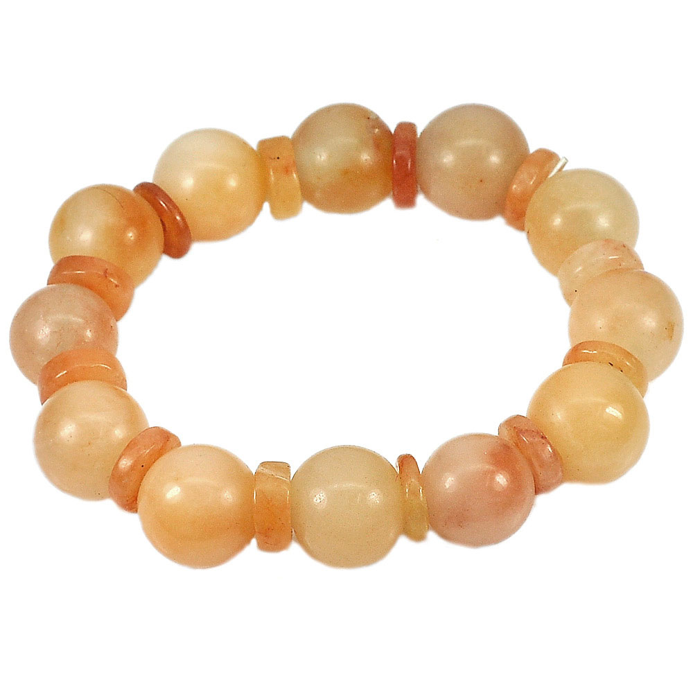 265.26 Ct. Natural Gems Multi-Color Honey Jade Beads Bracelet Length 8 Inch.