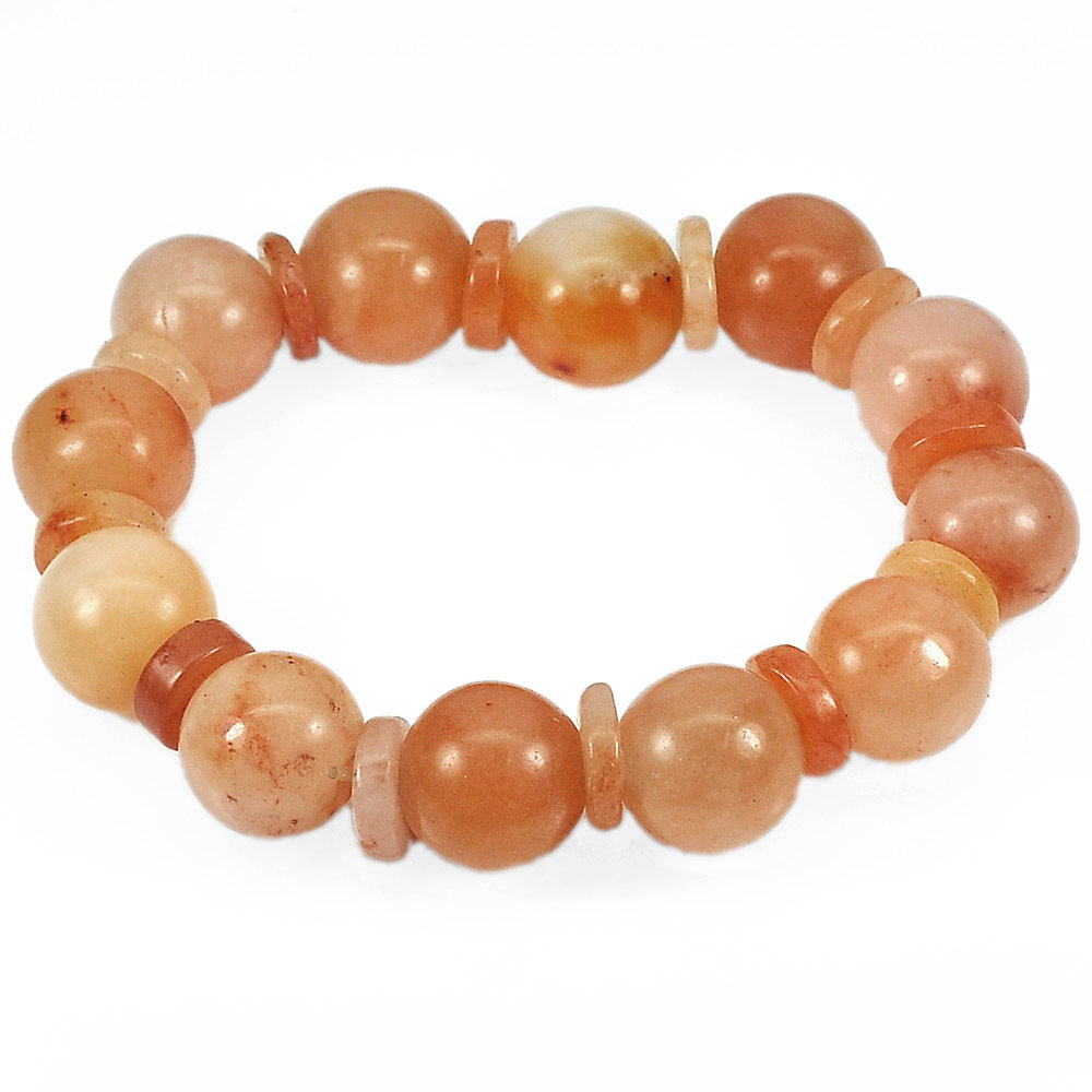 266.07 Ct. Natural Gems Multi-Color Honey Jade Beads Bracelet Length 8 Inch.