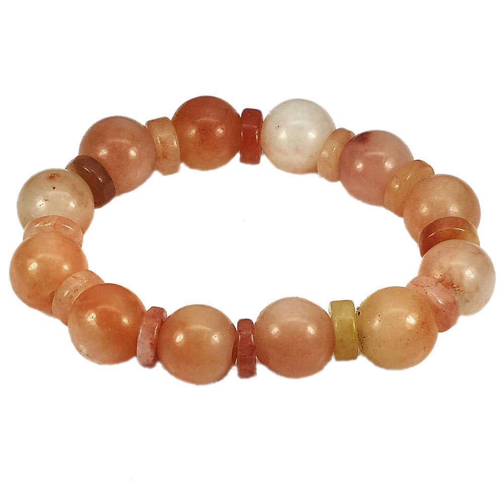 271.50 Ct. Natural Gems Honey Jade Beads Flexibility Bracelet Length 8 Inch.