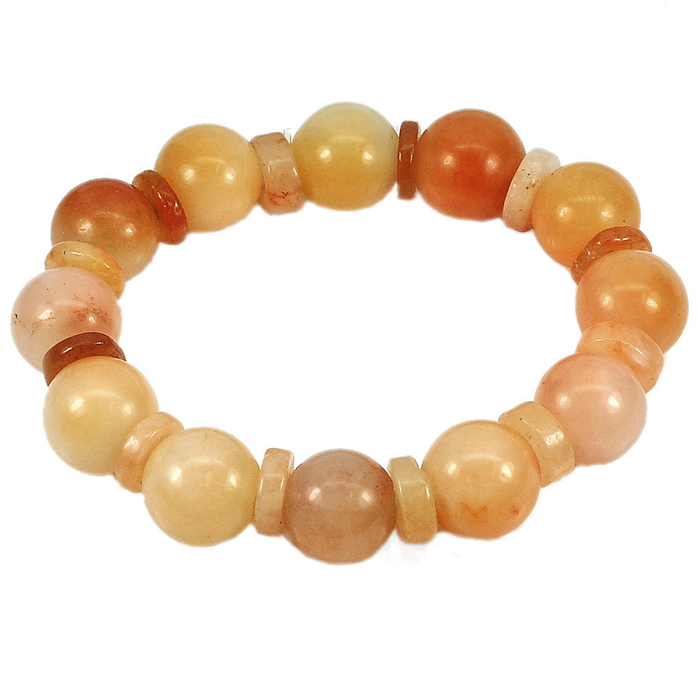 276.53 Ct. Natural Multi-Color Jade Beads Flexibility Bracelet Length 8 Inch.