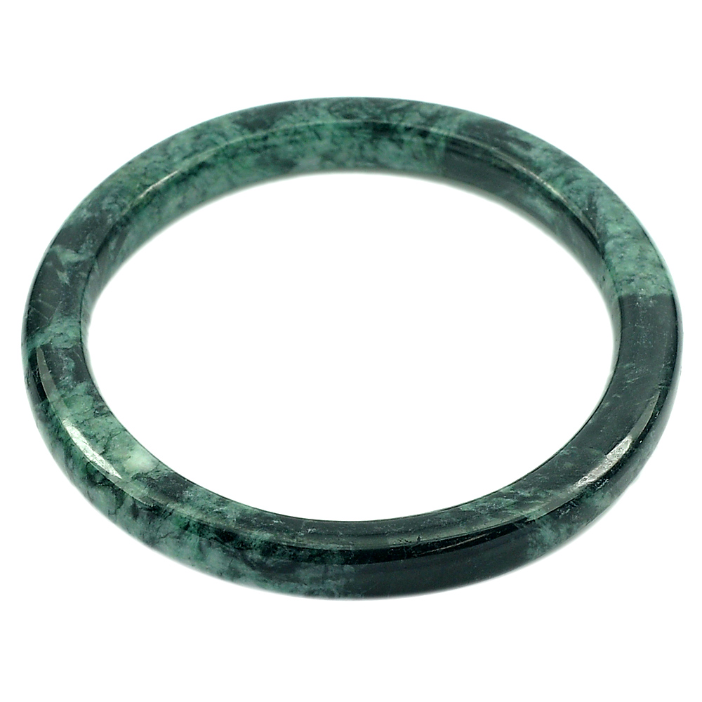 186.22 Ct. Round Cab Natural Gemstone Green Black Color Jade Bangle Unheated