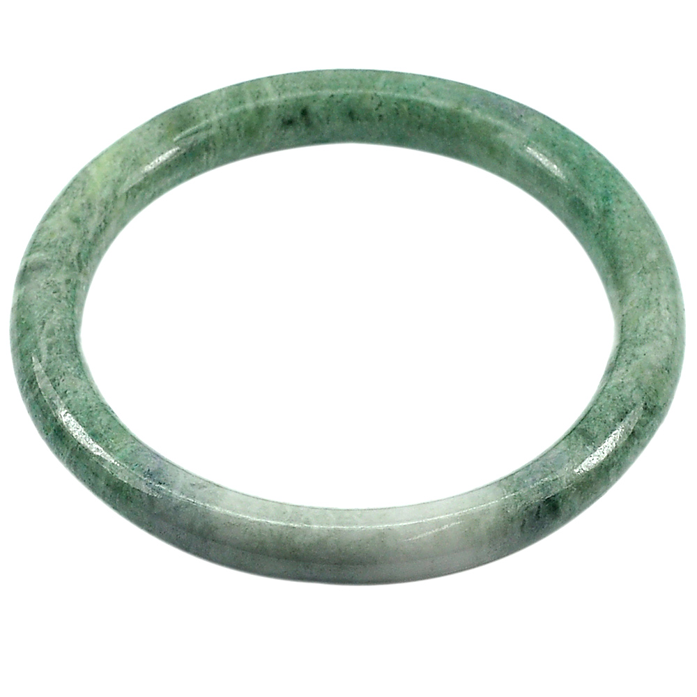 196.63 Ct. Round Cabochon Natural Gem Green White Jade Bangle Diameter 62 mm.