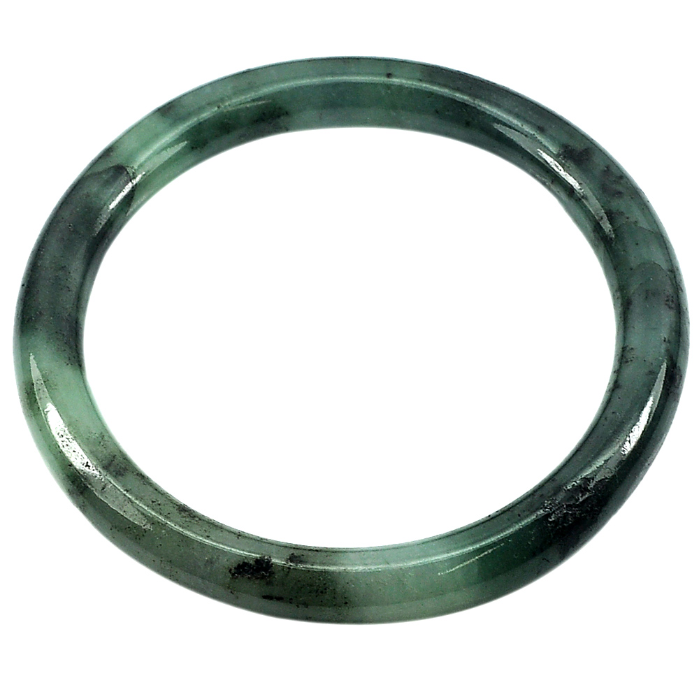 194.81 Ct. Natural Gem Green Black Jade Bangle Size 75 x 59 x 9 mm. Unheated